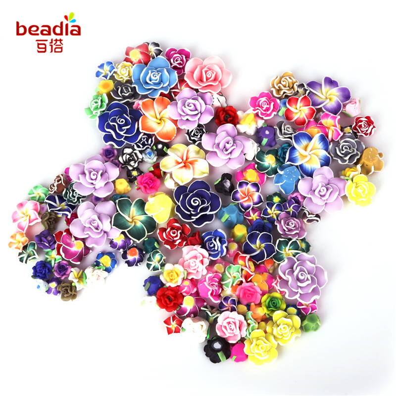 2-10pcs Non-Porous Soft Pottery 12mm * Thickness Of About 5mm Clay Beads Rose Flower Jewelry Necklace Bracelet Hair Ornament DIY