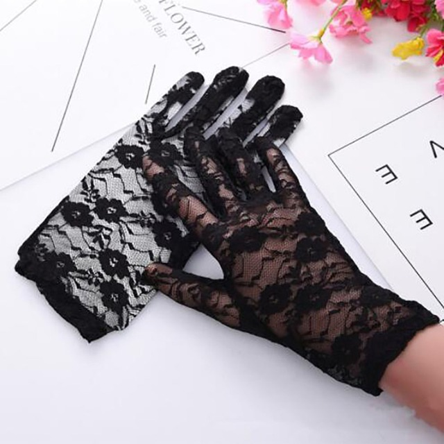 1Pairs New Party Sexy Dress Gloves Women Lady Lace Mittens Accessories Sunscreen Summer Full Finger Girls Lace Fashion Gloves 1
