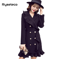 Ryseleco New Solid Office Lady Elegant Ruffled Women Trumpet Dress Spring Autumn Long Sleeve Double Buttons