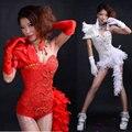 2015 novo estilo moda dj cantora ds rendas pena traje vermelho branco trajes coverall