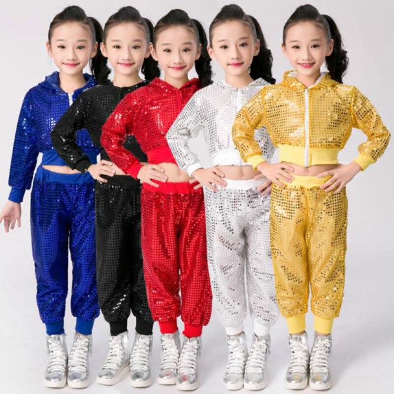 Adattabile Bambini Costume Di Ballo Di Jazz Di Usura Nuovo Stile Di Paillettes Hip-hop Di Ballo Di Jazz Di Ballo Per Bambini Concorsi Prestazioni Dei Vestiti Della Fase