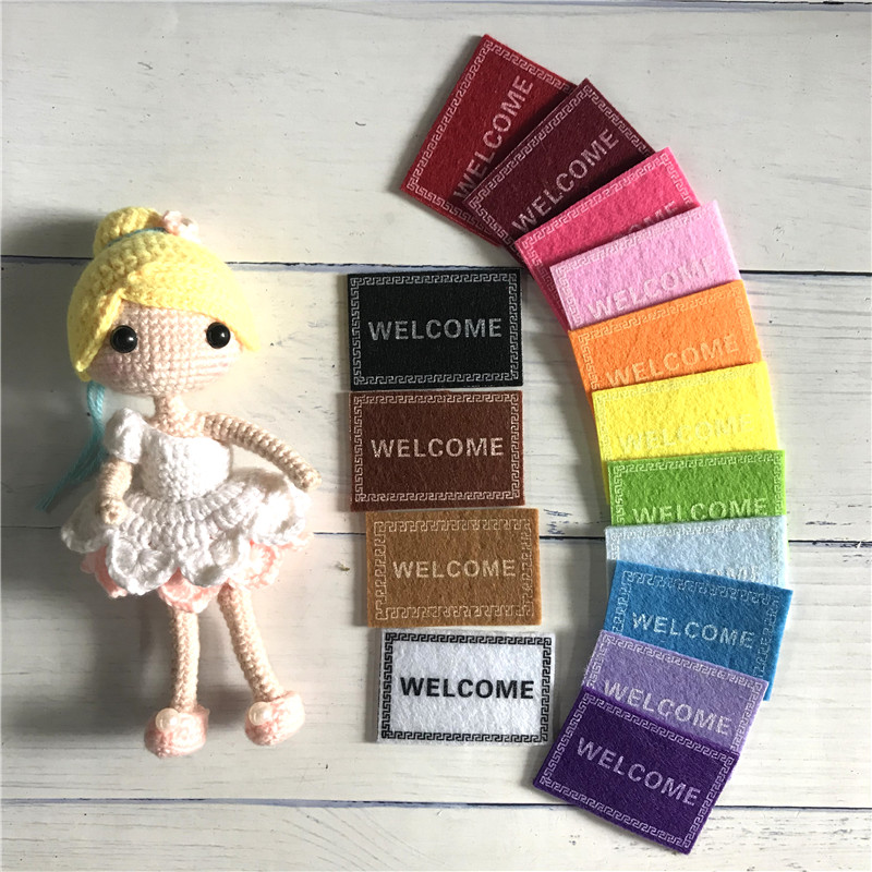 15 Colors Best Sale Doll House Miniature Carpet WELCOME Mat Dollhouse Fairy Door Accessories 1/12 Scale Doormats