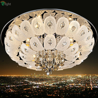 Modern Foyer Led Ceiling Lights Luxury Lustre De K9 Crystal Ceiling Lamp Plate Chrome Steel Diamond
