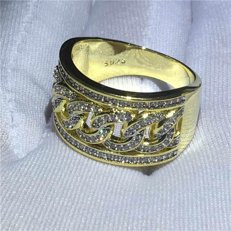 Moda Hiphop anel choucong 5A Zircon Pedra da Cor do Ouro 925 Sterling Silver Anniversary Party Anéis da Faixa para as mulheres homens Jóias