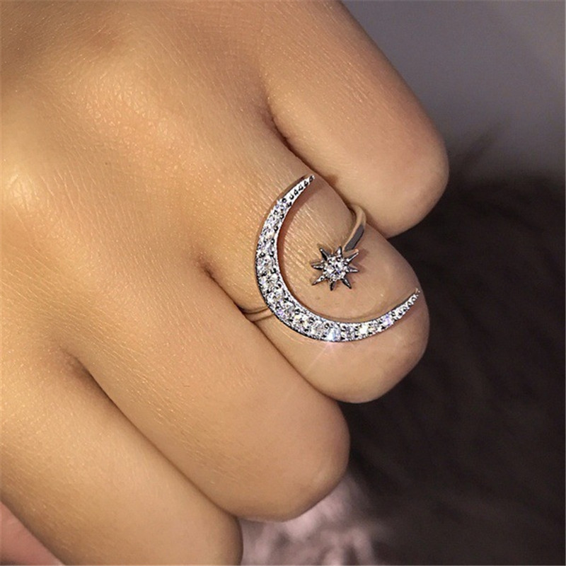 Ahmed 2019 New Fashion Crytal Ring Moon & Star Dazzling Open Finger Rings for Women Girls Wedding Engagement Jewelry Gift