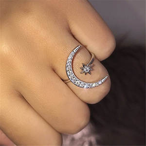 Ahmed Crytal-Ring Jewelry Open Star Wedding-Engagement Moon Girls Women New-Fashion