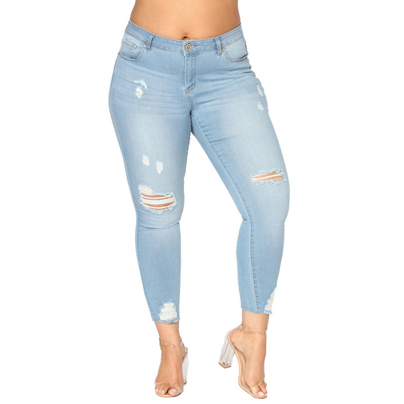calça jeans feminina <font><b>Women</b></font> Jeans <font><b>Plus</b></font> <font><b>Size</b></font> <font><b>7XL</b></font> Broken hole high waist stretch big hips casual <font><b>women's</b></font> trousers image