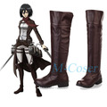 Anime Attack on Titan Cosplay Boots Bota Shingeki no Kyojin Eren Jaeger Ackerman Knee Length Cosplay Shoes For Women Men