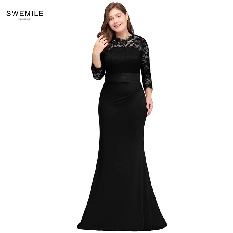 Vestido de Festa Plus Size Lace Mermaid   Evening     Dress   with Sashes Three Quarter Sleeve   Evening   Gowns Robe de Soiree Longue