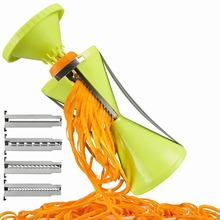 Kitchen Tools Spiral Vegetable Cutter Knife for Cleaning Vegetables Slicer Spiralizer Spaghetti Cutter With 4 Blades Salad Maker(China)