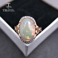 TBJ, натуральный большой Эфиопский Опал Овальный 10*14 мм 5ct up опал женское кольцо в 925 стерлингового серебра ювелирные украшения для женщин как