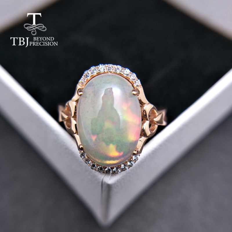 TBJ,Uniqu natural big ethiopian opal oval 10*14mm 5ct up opal women ring in 925 sterling silver fine jewelry for women as gift