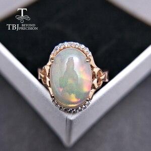 TBJ, unikalne naturalne duże etiopski opal owalne 10*14mm 5ct up opal kobiety pierścień w 925 sterling silver fine jewelry dla kobiet jako prezent
