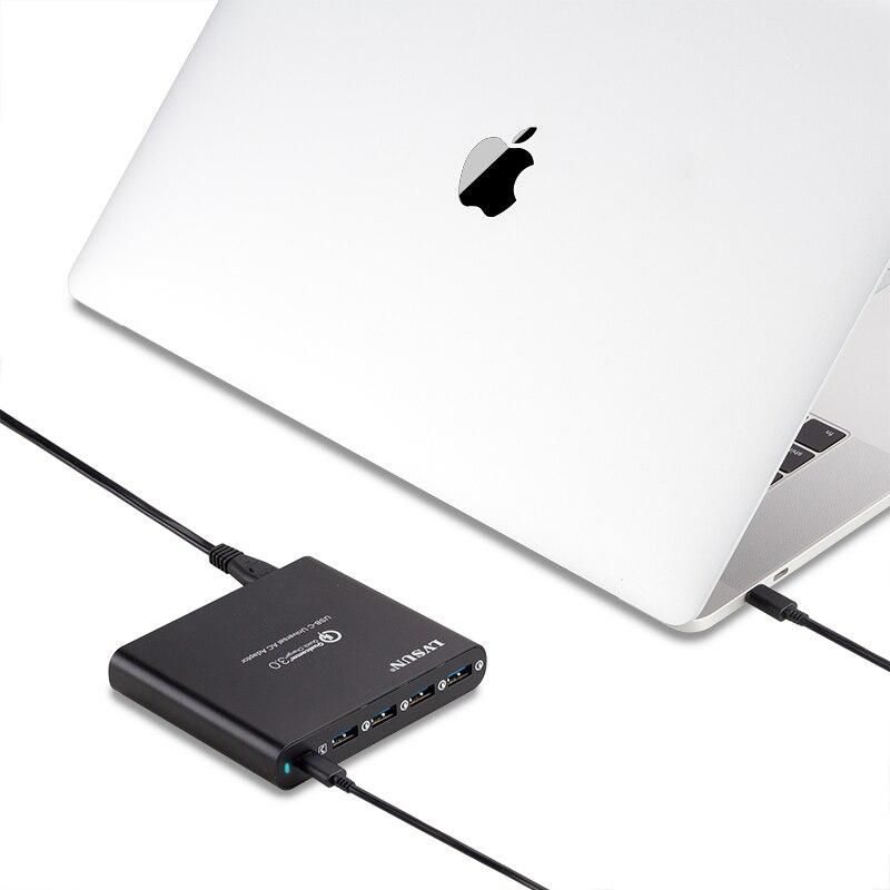 ✔  LVSUN QC3.0 Универсальное телефонное планшетное зарядное устройство для ноутбука type-c type c USB-C ✔