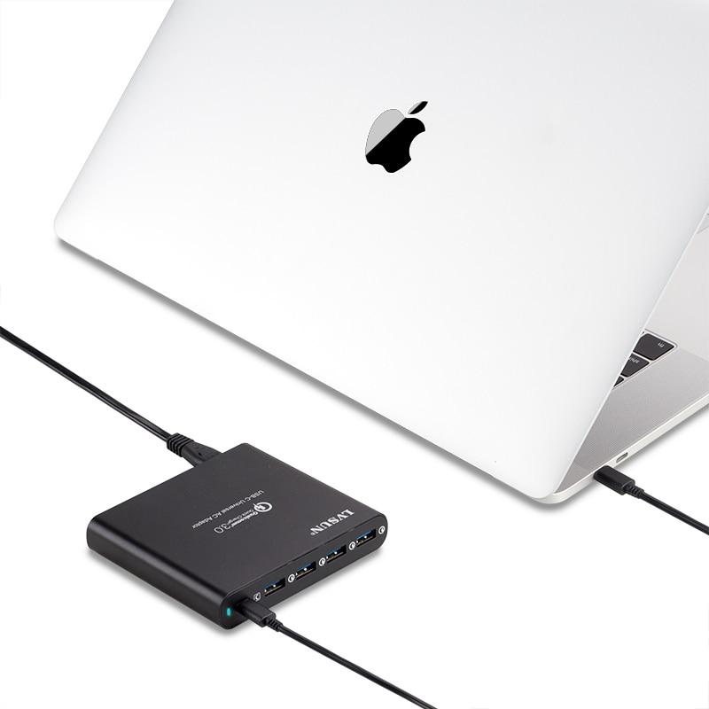 LVSUN QC3.0 universel téléphone tablette chargeur pour ordinateur portable type c type c USB C chargeur pour Macbook Spectre 13 Yoga 5 Xiaomi HP (pas de conseils)-in Chargeurs from Electronique    1
