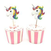 24Pcs Cute Unicorn Cupcake Topper Pick Wedding Decoration Baby Shower Birthday Party Supplies Cake Baking Party Decoration 24pcs lot cartoon easter bunny flowers cupcake toppers cute white rabbit cake pick hat party decorations baby birthday wedding