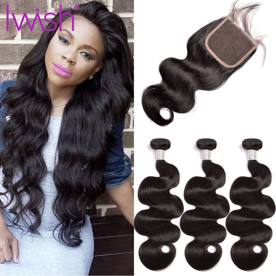 Iwish Hair 3 Bundles Brazilian Body Wave Hair With Closure 4*4 Free Part 4pcs/lot Remy Human Hair Extension Natural Color