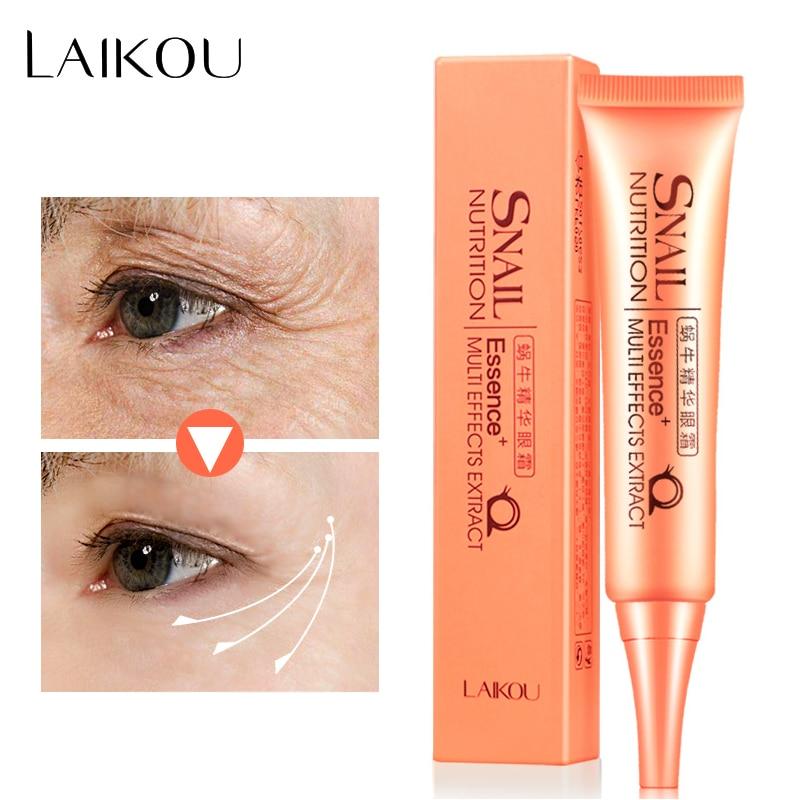 LAIKOU Snail Serum Repair Crema de ojos Natural Al instante Anti Envejecimiento Anti-hinchazón Arrugas Círculo oscuro Hidratante Cuidado de la piel