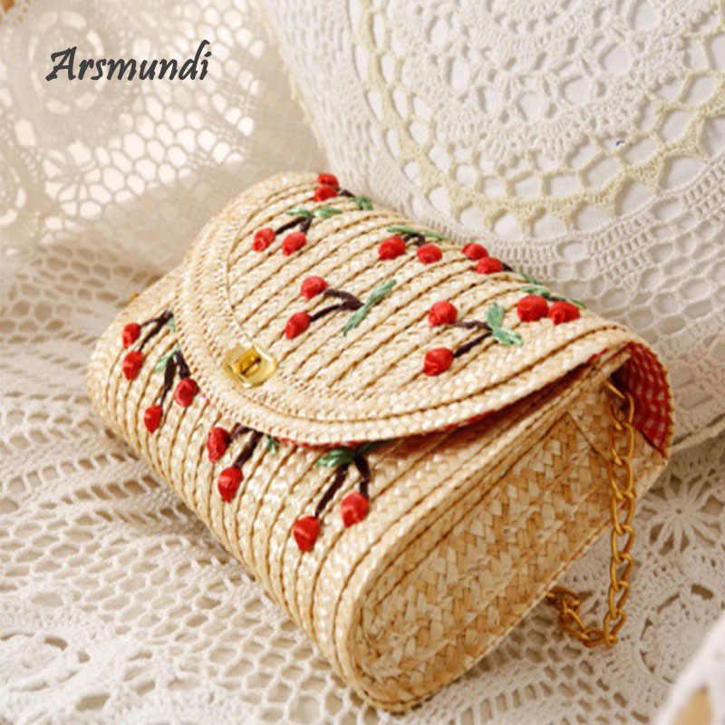 Arsmundi حقيبة يد فاخرة حقائب النساء مصمم ثلاثي الأبعاد اليد المطرزة الكرز القش حقيبة النسيج الروطان الصيف حقيبة شاطئية
