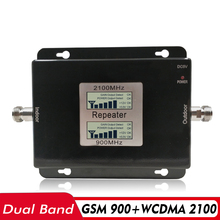 65dB Gain Dual Band Signal Booster 2G GSM 900+3G UMTS WCDMA 2100 Cell Phone Repeater 900 3G Network Amplifier