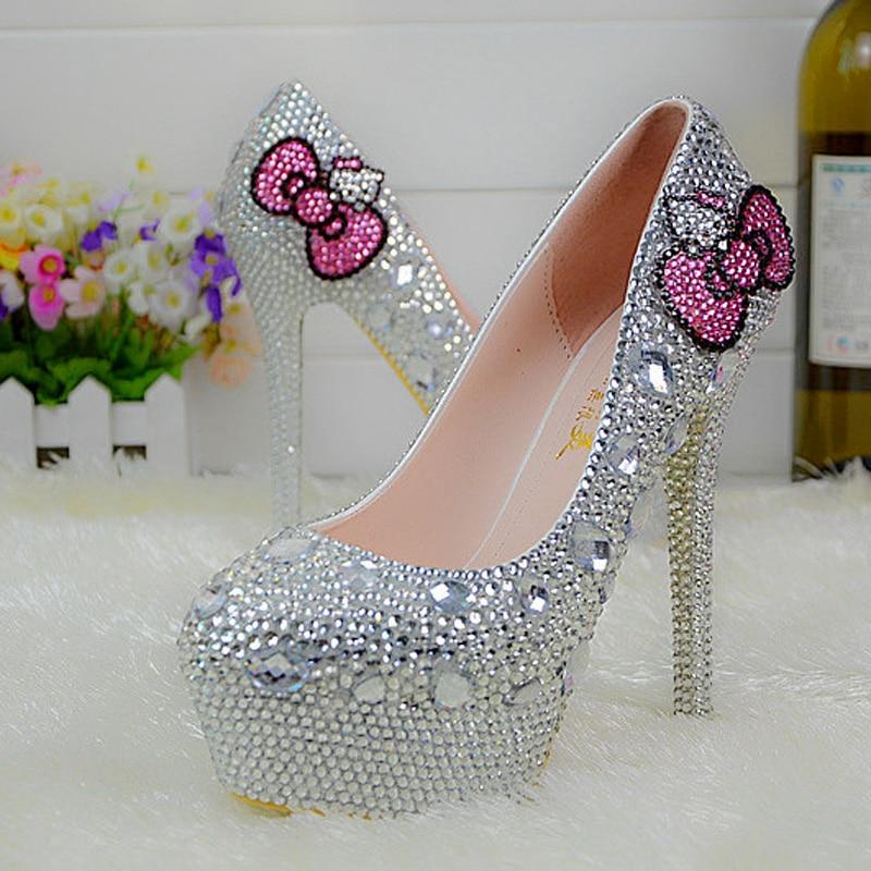 Popular Silver Rhinestone Bridal Wedding Shoes Hello Kitty Graudation Party Prom High Heel Shoes Formal Dress Pumps Plus Size 45