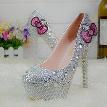Beliebte Silber Strass Braut Hochzeit Schuhe Hallo Kitty Graudation Partei Abschlussball High Heel Schuhe Formales Kleid Pumpen Plus Größe 45