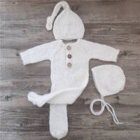 Newborn photography props,baby mohair footed romper outfits with sleeping hat for baby photography props