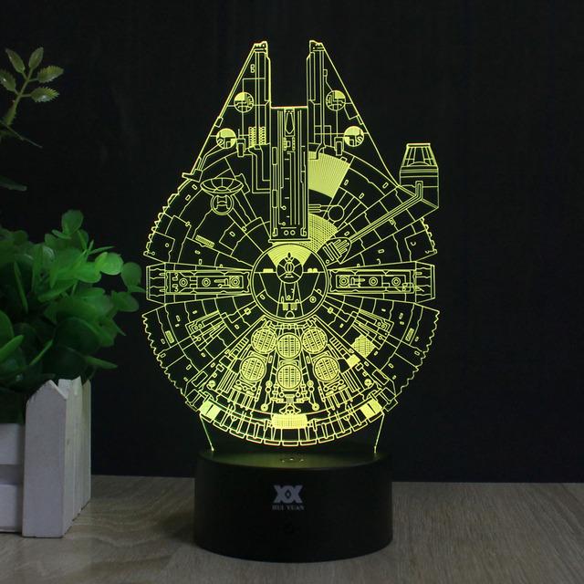 Star Wars Millennium Falcon 3D Lamp LED Remote Control Night Light USB Decorative Table Lamp Interesting Gift HUI YUAN Brand