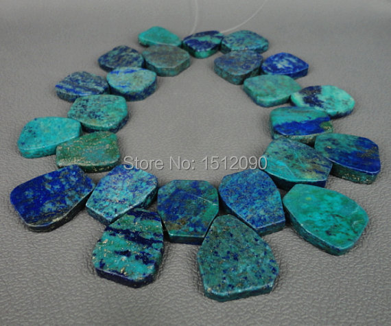 Large Natural Lapis Chrysocolla Slab Beads Pendants Top Drilled Rock Lapis Slice Beads Necklace Jewelry 22