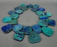 Grande naturales Lapis crisocola losa granos de los colgantes, tapa perforaron roca rebanada perlas collar de la joyería 22-26×25-28mm