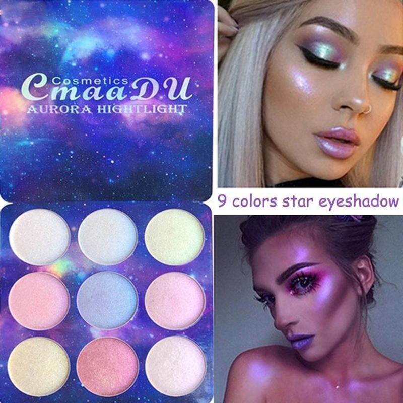 Highlighter Eyeshadow Palette Illuminator Face Brighten Contouring Highlighter Powder Palette Bronzer Face Glow Kit