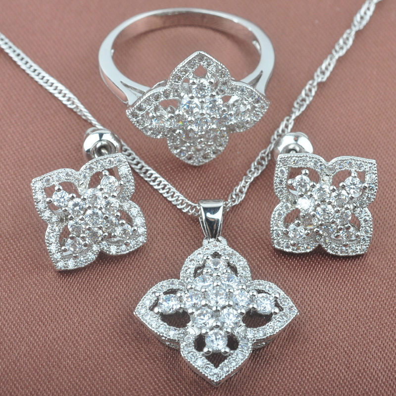 Superb White Cubic Zircon Womens 925 Silver Jewelry Sets Necklace Pendant Earrings Rings Free Shipping TS046