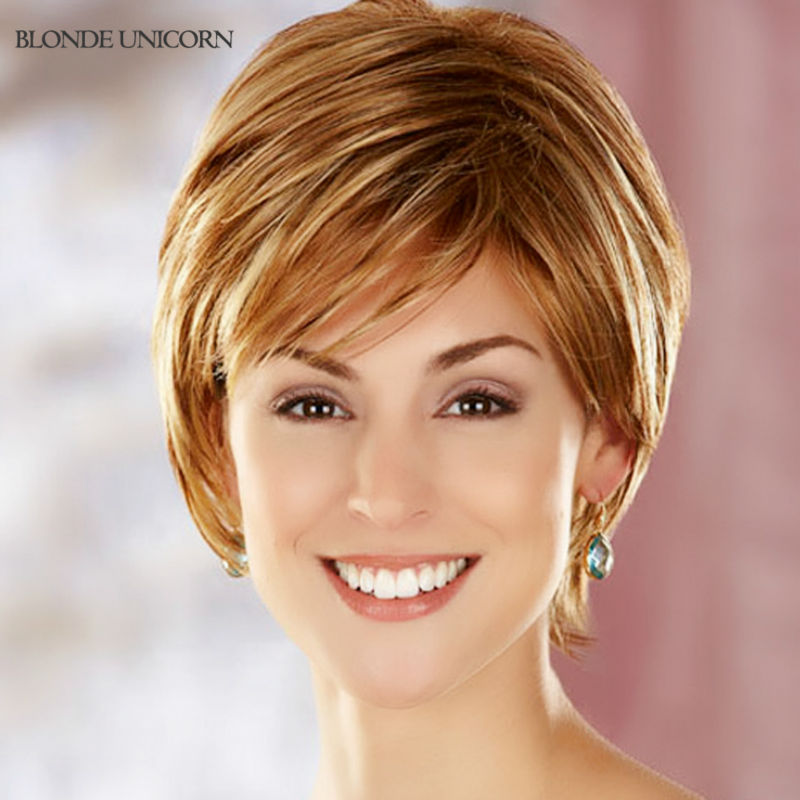 Blonde Unicorn New Arrival Full Lace Human Hair Wigs Elastic Glueless Cap Dark Brown Color Black Color Short Straight  Wig