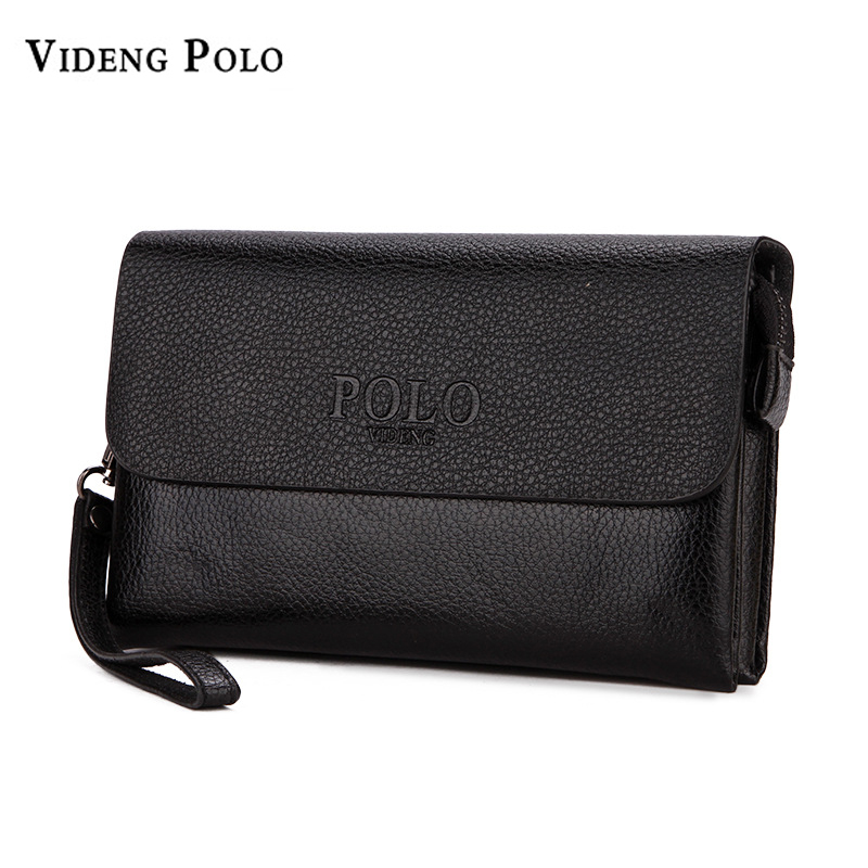 VIDENG POLO Brand Men's Large Capacity Wallets Clutch Bags Business Wallet Leisure Soft Leather Purse Male Handy Bags Monederos 2016 famous brand new men business brown black clutch wallets bags male real leather high capacity long wallet purses handy bags