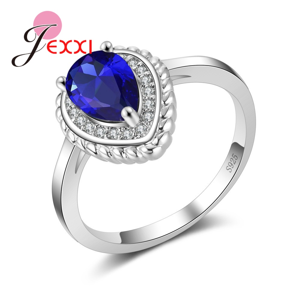 JEXXI Noble Princess Rings Luxury Water Drop Ring for Women Mosaic Clear Blue Austrian Crystal 925 Sterling Silver Bridal Bijoux