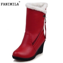 Size 30-52 Woman Round Toe Wedge Mid Calf Boots Women Thickened Fur Winter Warm Half Snow Botas High Quality Shoes Footwear