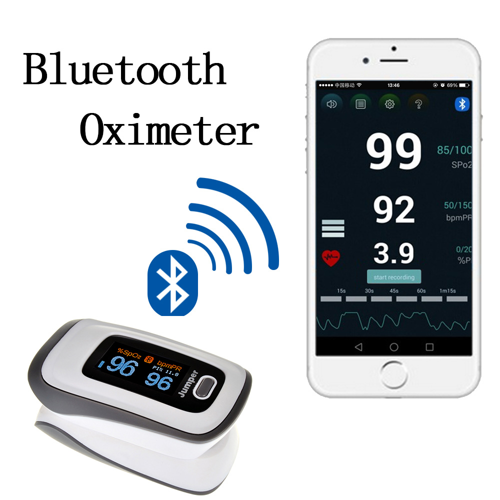 Jumper New Finger Pulse Oximeter Blood Oxygen Saturation Bluetooth Oximetro de dedo Monitor for Health Care картридж nv print nvp q5949x q7553x для hp lj 1160 1320 1320n 3390 3392 p2014 p2015 m2727canon lbp 3300 7000стр