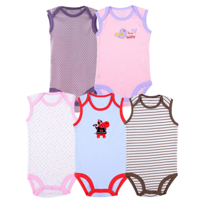 5pcs Newborn Baby   Rompers   Sleeveless Cotton 3-12M Baby Boy Clothes Toddler Girl Clothes Kids Boys Jumpsuits Infant Clothing
