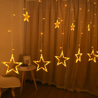 Stars LED String Curtain Lights Christmas Garland Light AC220V Battery Indoor Party Garden Stage Outdoor Decorative