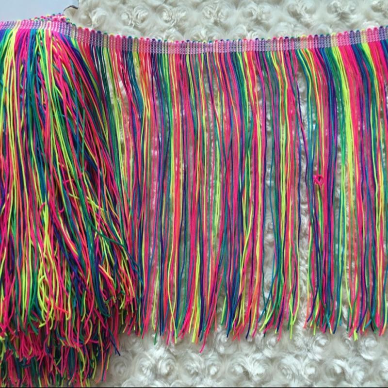 5Yard/Lot Colorful Nylon Latin Dress Trimming Tassel Fringe African Lace Dancewear Sewing Fluro Double Ribbon Diy 9cm