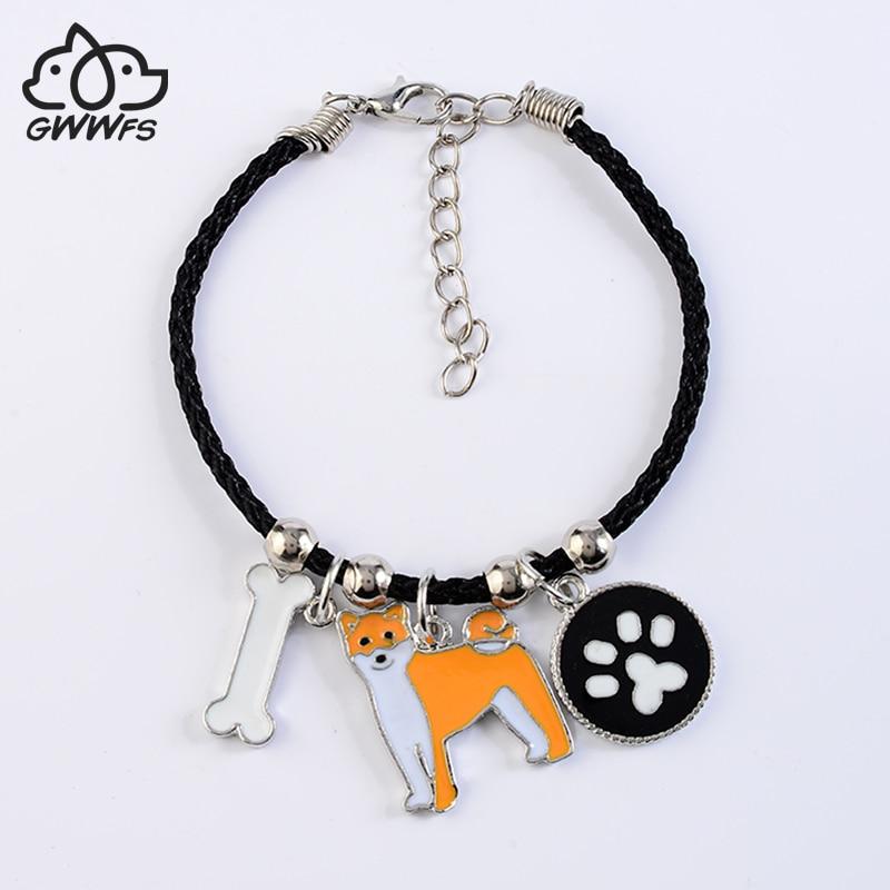 Akita japonês charme pulseiras para homens mulheres meninas cor prata liga cadeia corda masculino feminino pulseira cão leal bijoux femme