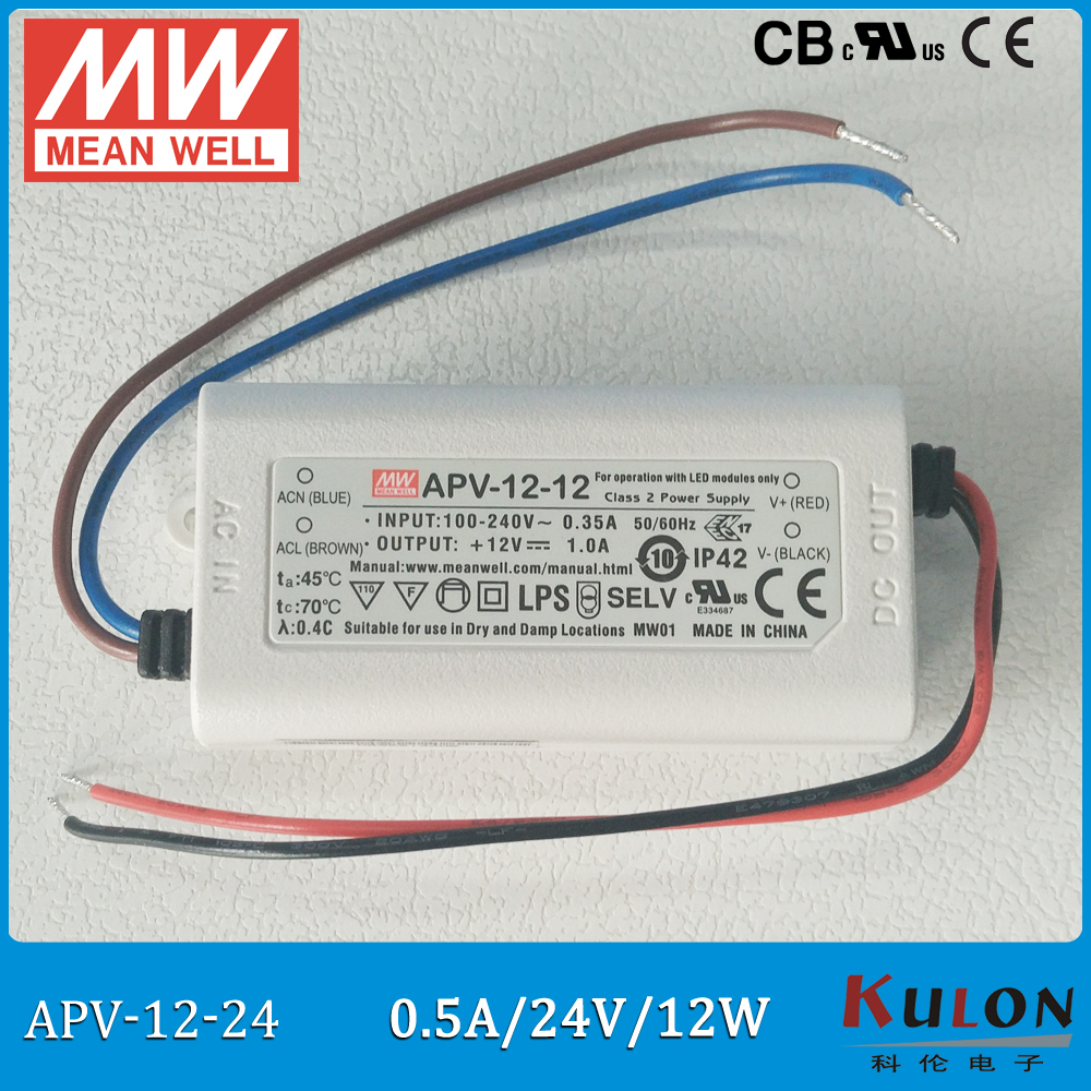 Original Meanwell 24V Power Supply APV-12-24 12W 24V 0.5A IP42 mean well LED driver APV-12 UL CB CE EMC original meanwell led driver apc 16 700 16 8w 9 24v 700ma led power supply constant current mean well apc 16 ip42