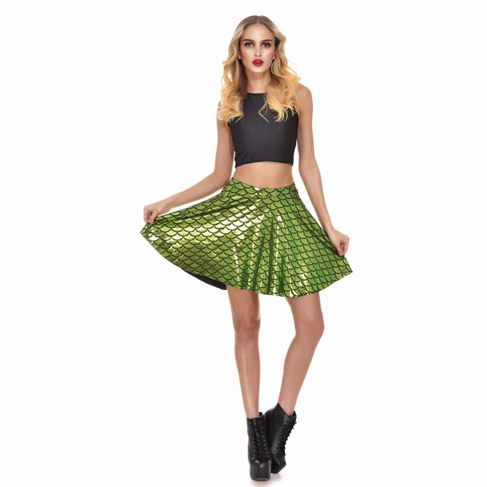 8c2634092f9e2 Hot Sales 13 Colors Fishscale Mermaid Summer Skirts Plus Size S To 4xL  Silver Green Black Red Blue Gold Sexy Mini Pleated Skirt