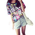 woman short sleeve fashion Women's Summer T-Shirt Clothes Shirt  O-neck The letter printing  Free Shipping