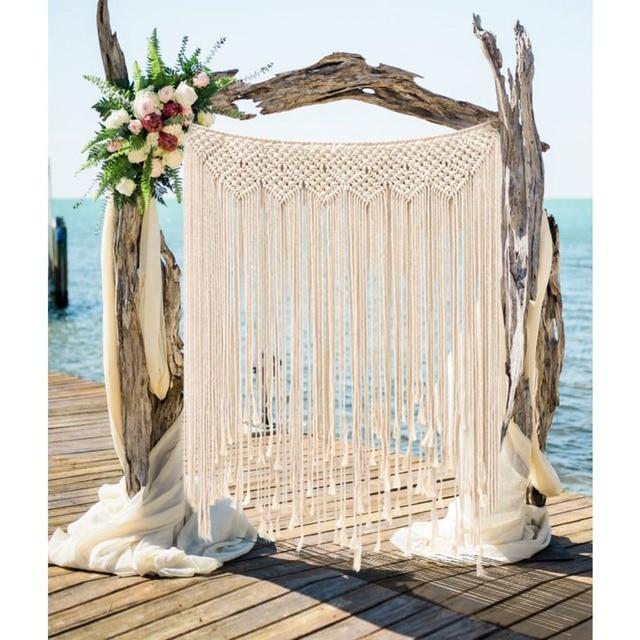 OurWarm Boho Wedding Decoration Macrame Wedding Backdrop 100x115cm Cotton Rope Photo Booth Backdrop Macrame Wall Hanging