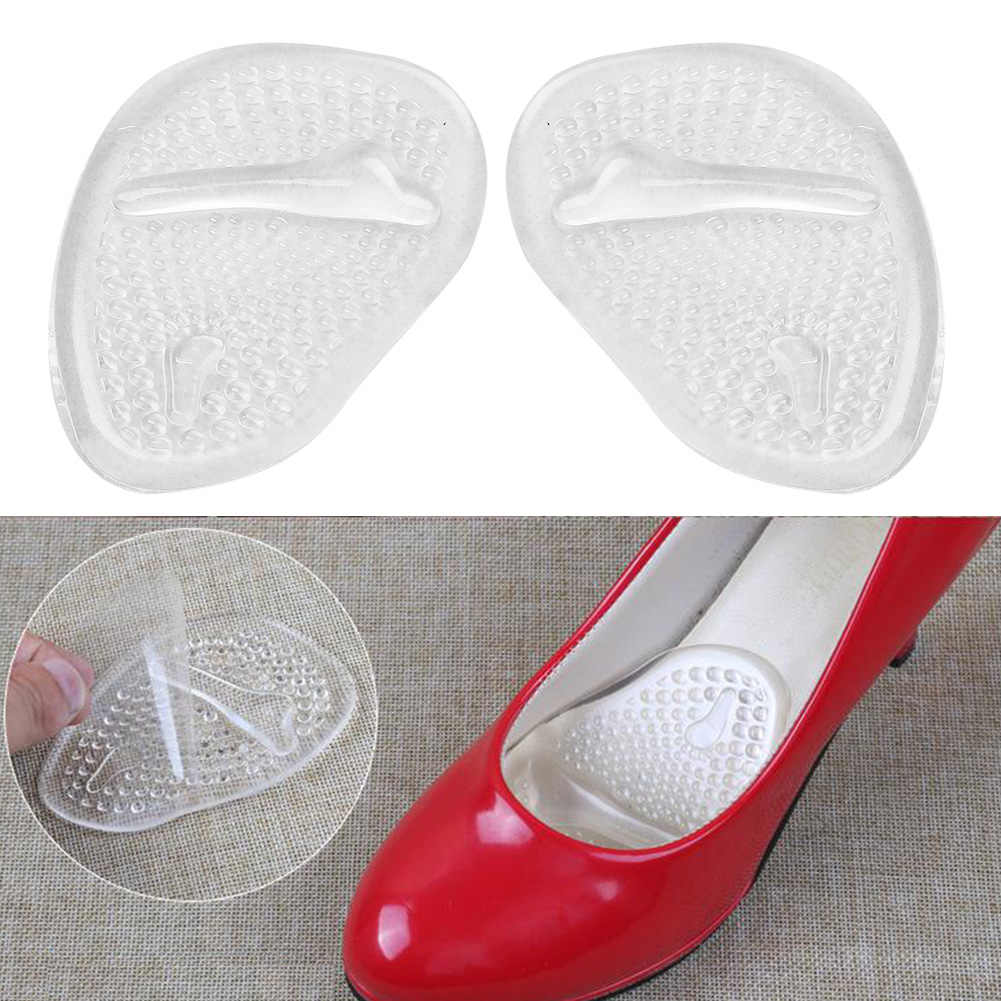 1Pair High Heel Transparent Silicone Gel Shoes Anti-slip Insoles Front Pad Cushion Shoes Massager Protector Foot Care Tool