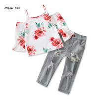 Moggi Cat 2019 Girls Clothing Sets Rose Flower Print Sling White T Shirt+Ripped Jeans Fashion Girls Cloth Sets
