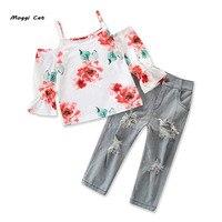 Moggi Cat 2019 Girls Clothing Sets Rose Flower Print Sling White T Shirt+Ripped Jeans Fashion Girls Cloth Sets
