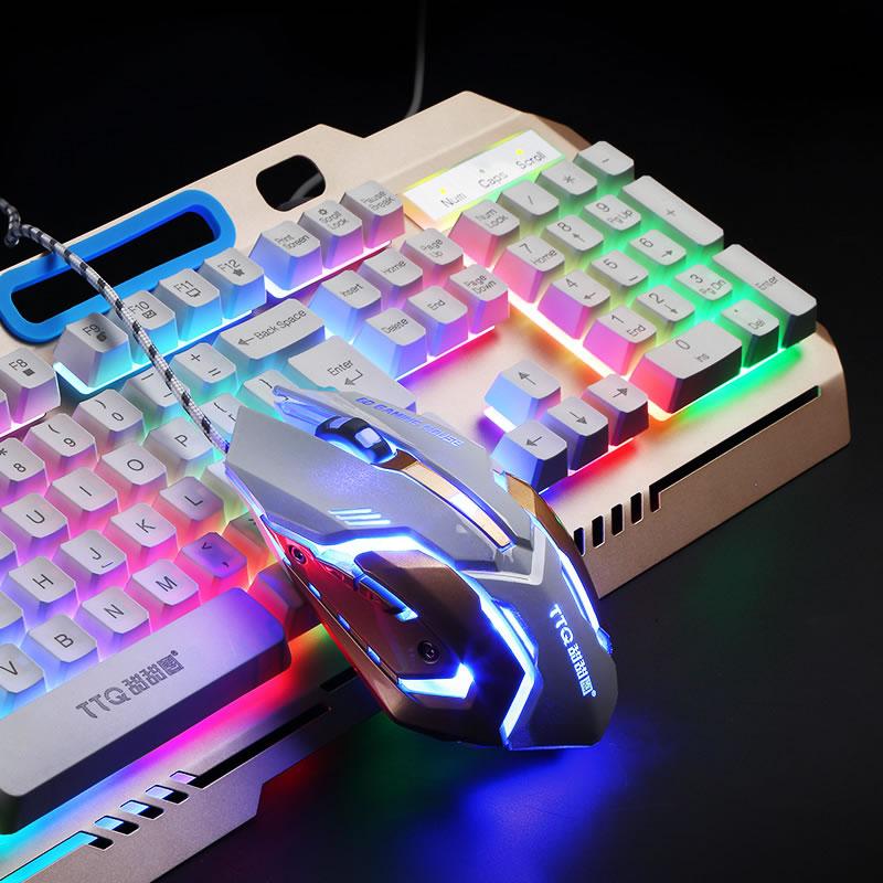 Купить с кэшбэком TTQ USB Gaming Keyboard Mouse Gamer Profesional Set Razer Led gaming mouse Mechanical Feel keyboard set wired 2000DPI  gamer set