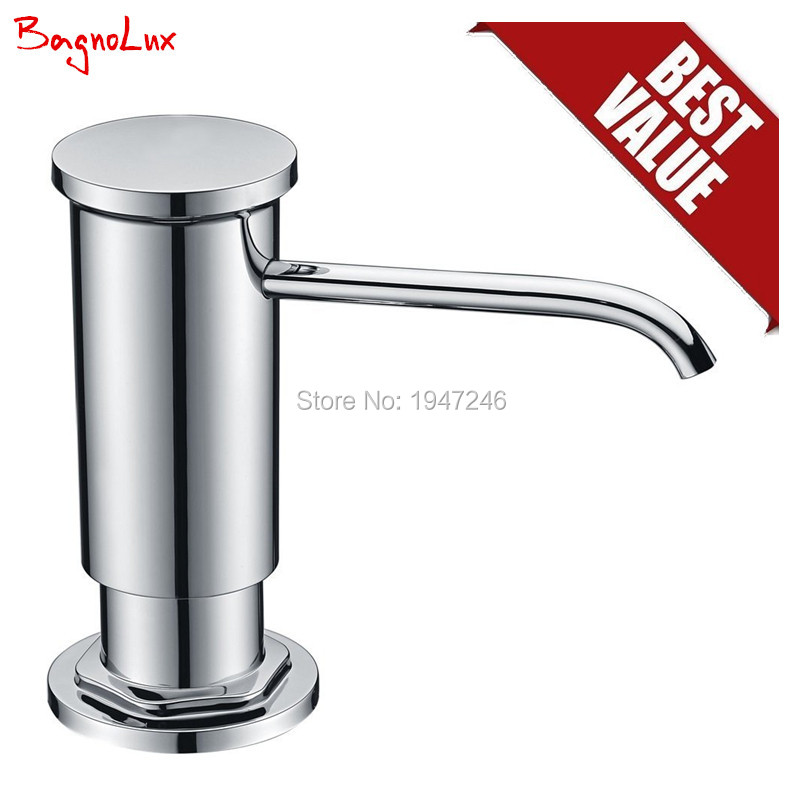 Bagnolux F048C High Quality Deck Mounted Kitchen Sink Soap Dispenser Chrome inclued Plastic Pump Head PE Clear Plastic Bottle in Liquid Soap Dispensers from Home Improvement